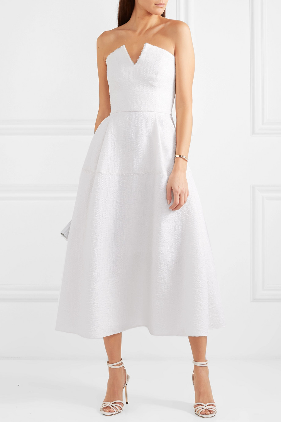Roland Mouret Aldrich strapless frayed cloqué midi dress