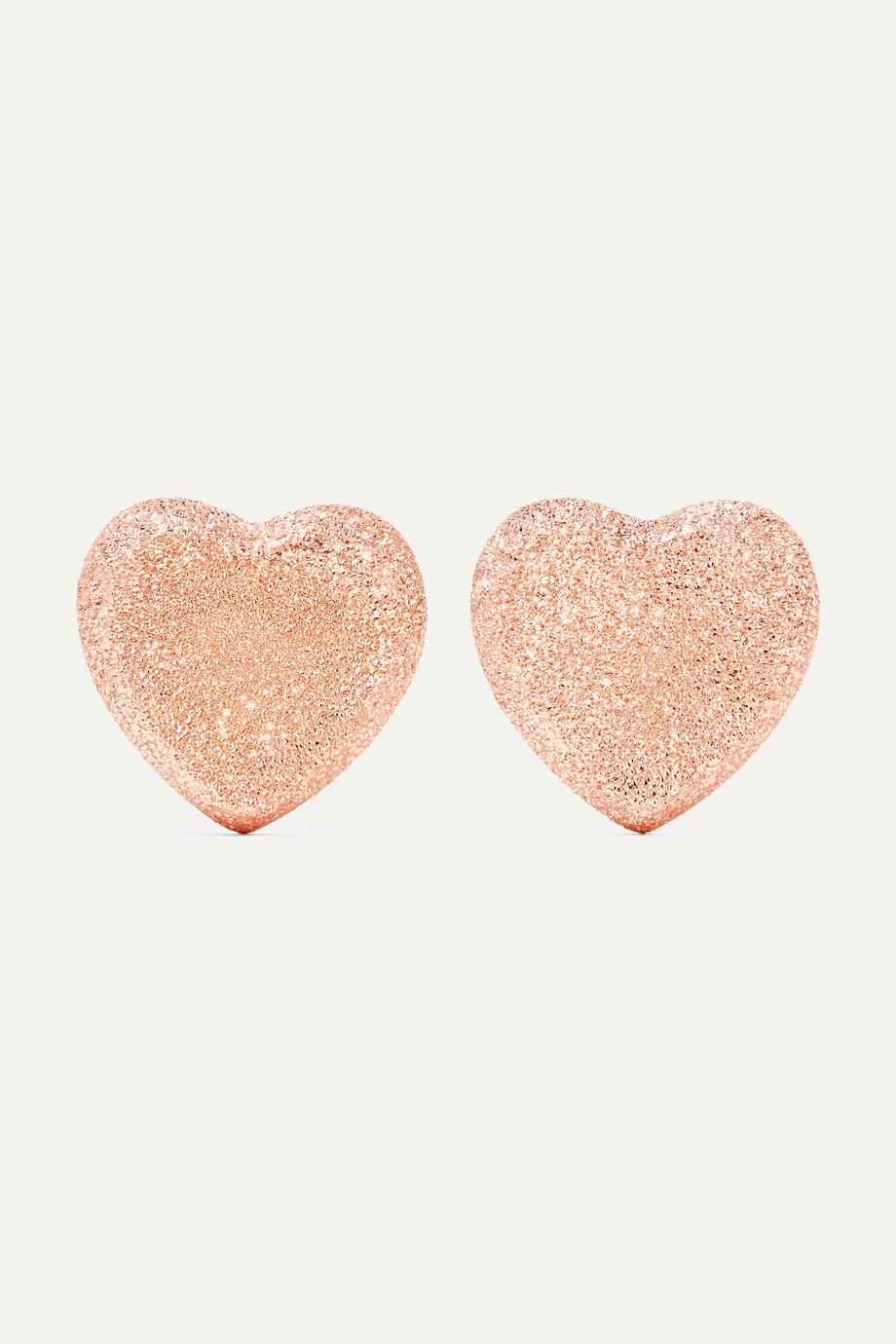 Carolina Bucci Heart Button 18-karat rose gold earrings