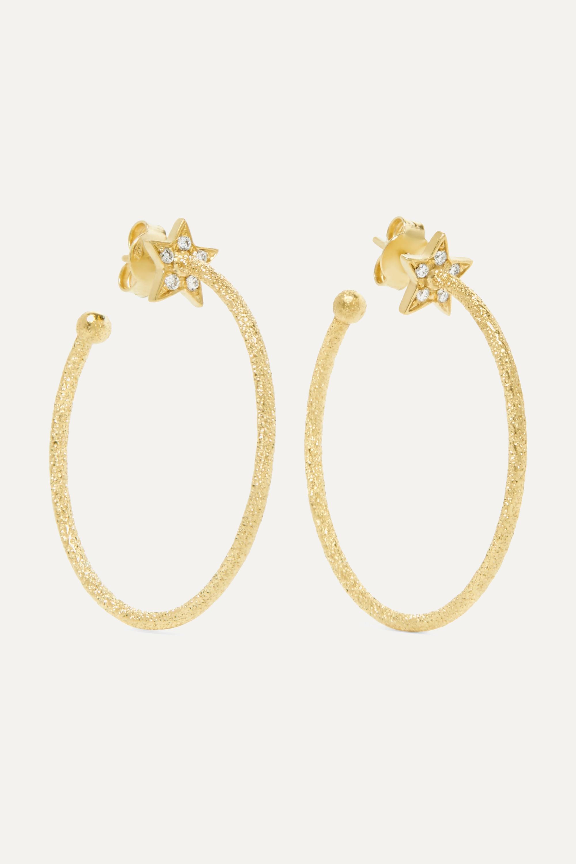 Carolina Bucci Shooting Star 18-karat gold diamond hoop earrings