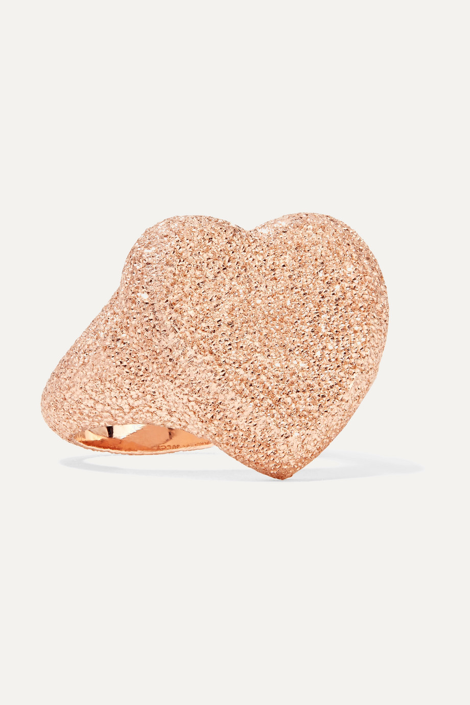 Carolina Bucci Florentine Heart 18-karat rose gold ring