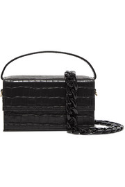 L'AFSHAR Ida croc-effect leather clutch