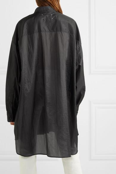 Maison Margiela Shirts Oversized crinkled-satin shirt