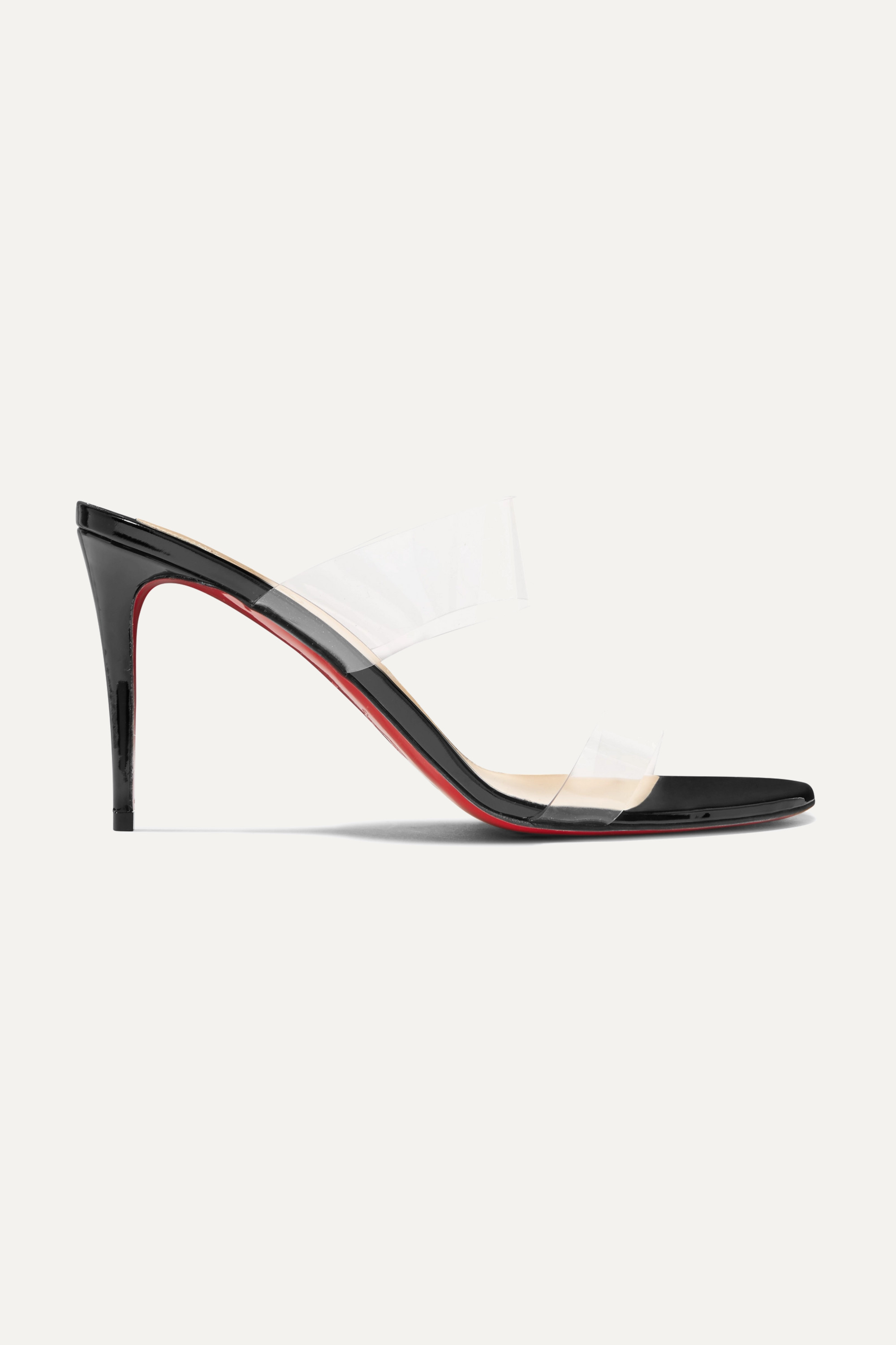 Christian Louboutin Just Nothing 85 PVC and patent-leather mules