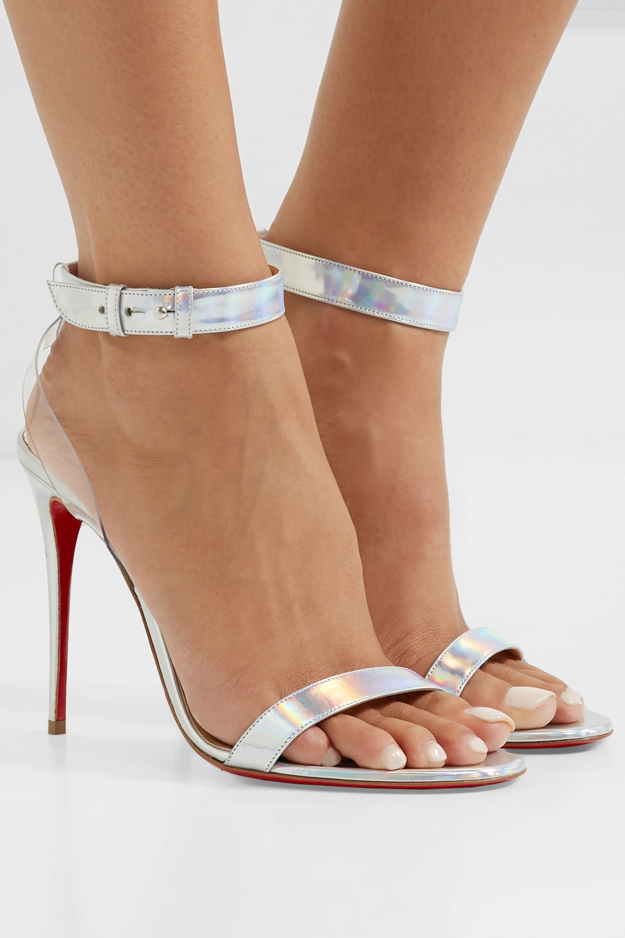 Christian Louboutin Jonatina 100 PVC-trimmed iridescent leather sandals