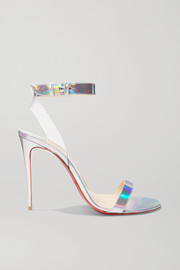 Jonatina 100 PVC-trimmed iridescent leather sandals
