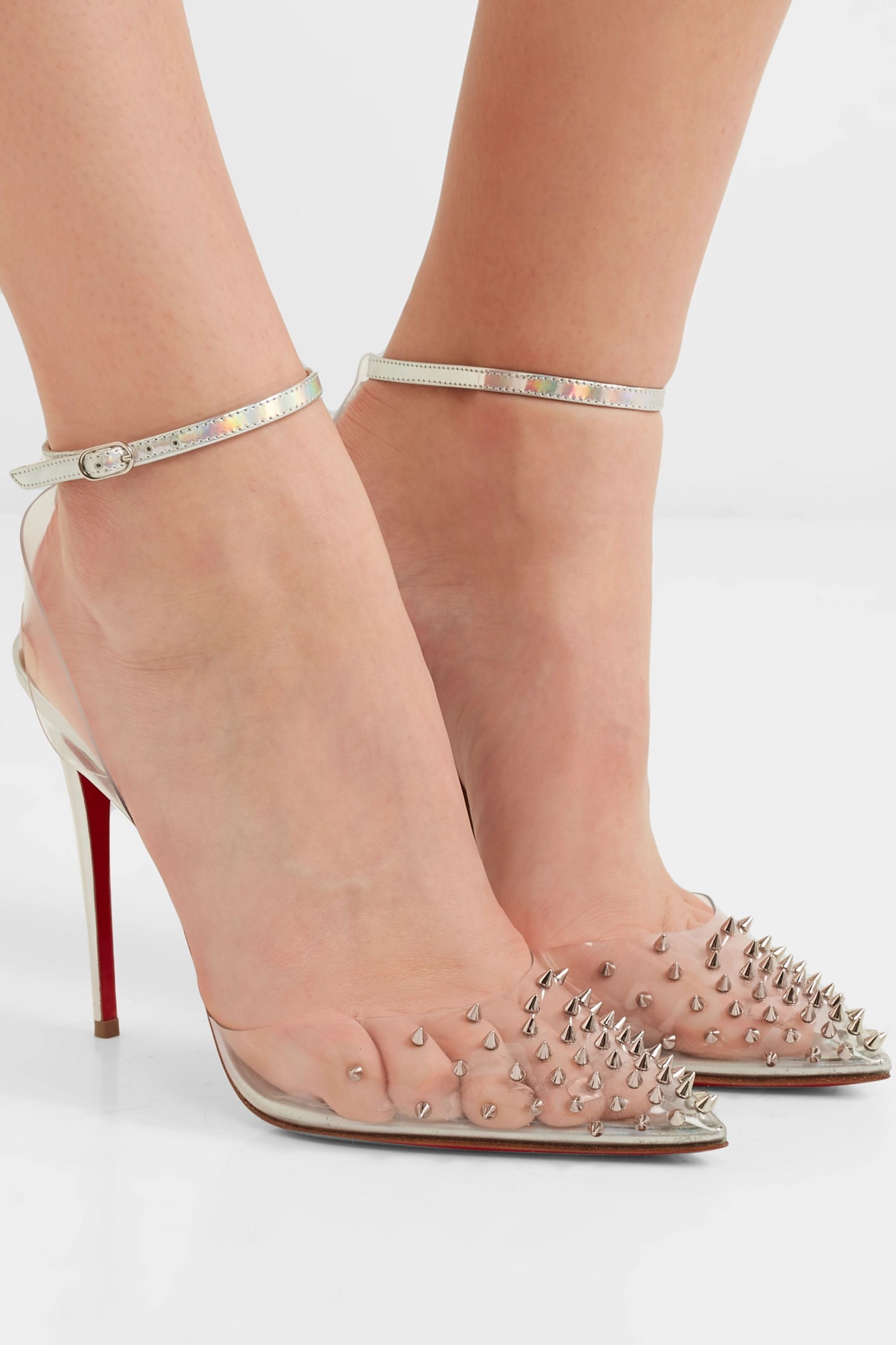 Christian Louboutin Spikoo 100 spiked PVC and iridescent leather pumps