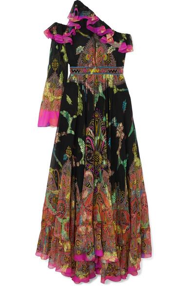 Etro Dresses One-shoulder ruffled printed metallic silk-blend chiffon gown