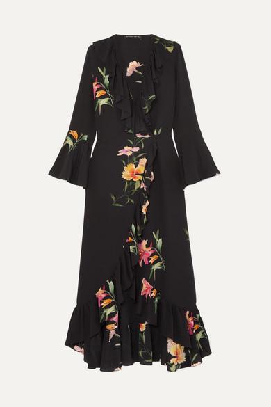 Etro Dress Ruffled floral-print silk crepe de chine wrap dress
