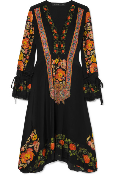 Crochet-Trimmed Printed Silk Crepe De Chine Dress in Black