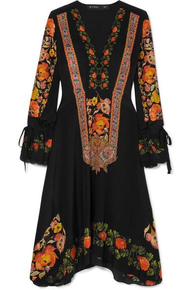 Etro Dress Crochet-trimmed printed silk crepe de chine dress