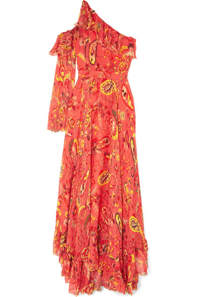 One-Shoulder Ruffle-Trimmed Printed Chiffon Maxi Dress in Red