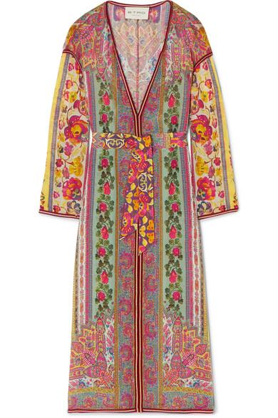 Crochet-Trimmed Printed Silk-Chiffon Robe in Pink