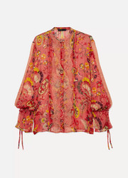Etro Lace-trimmed printed silk-crepon blouse
