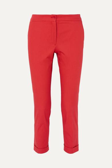 ETRO   Etro - Cotton-blend Canvas Slim-leg Pants - Red   Goxip
