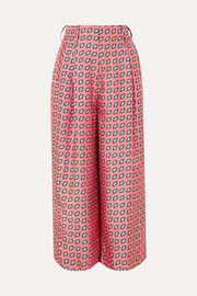 Printed cropped silk-twill wide-leg pants