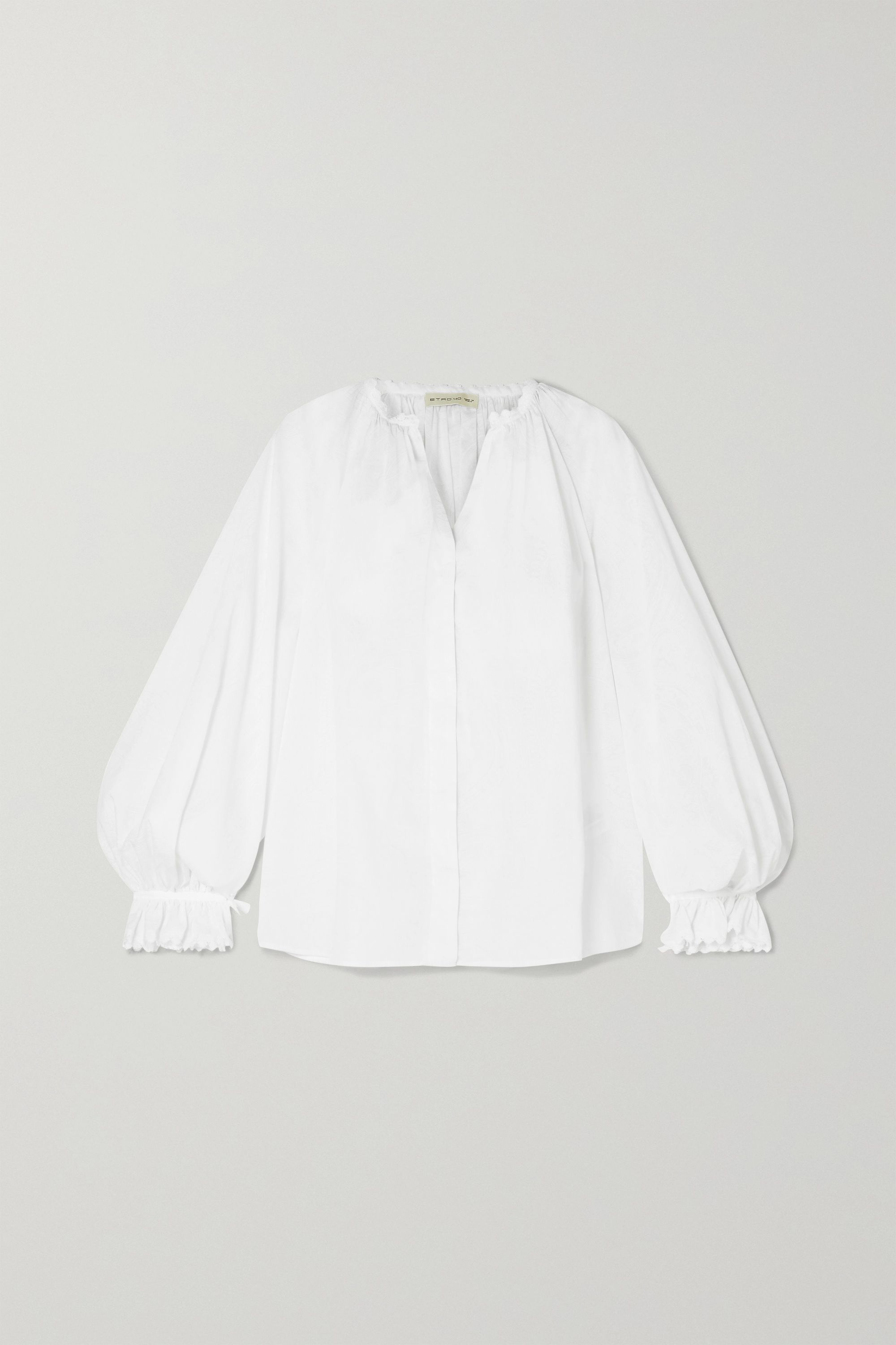 Etro Lace-trimmed printed cotton blouse