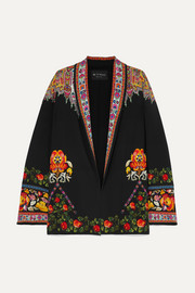Floral-print twill-trimmed cady jacket