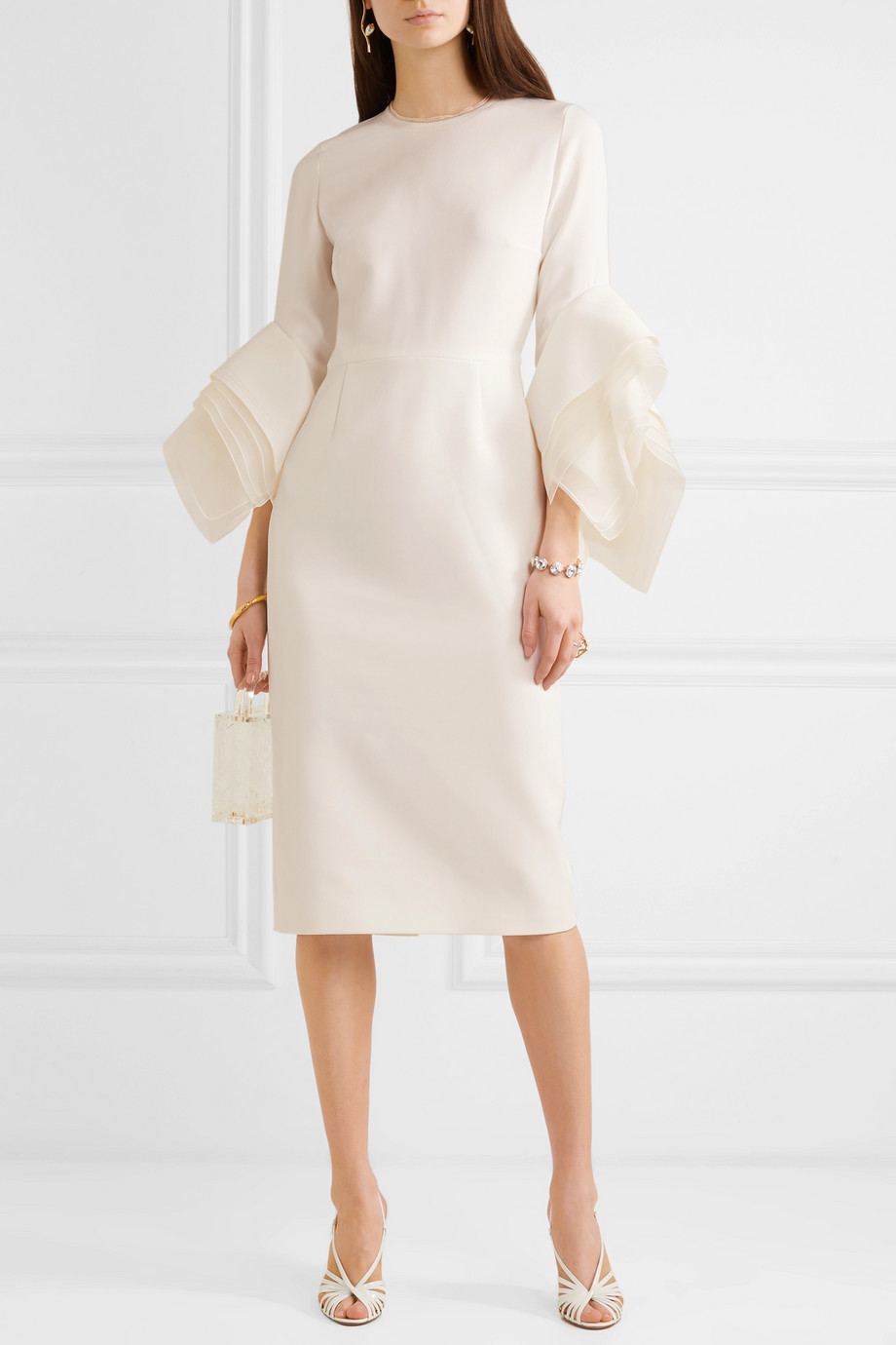 Roksanda Tulle-trimmed crepe midi dress