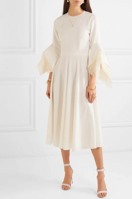 Tulle-trimmed crepe midi dress