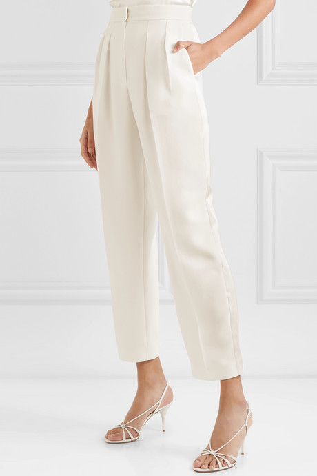 Pleated cady straight-leg pants