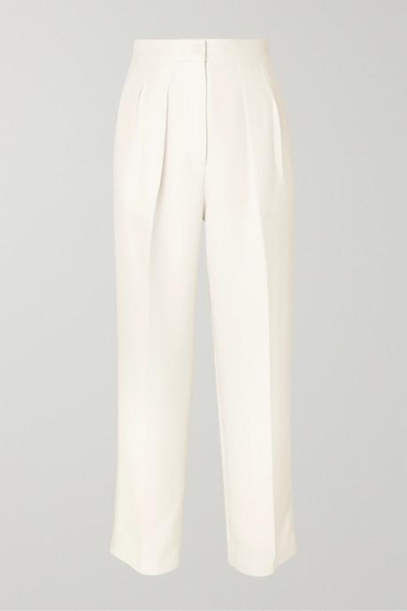 Ivory Pleated cady straight-leg pants   Roksanda kEt9BJ