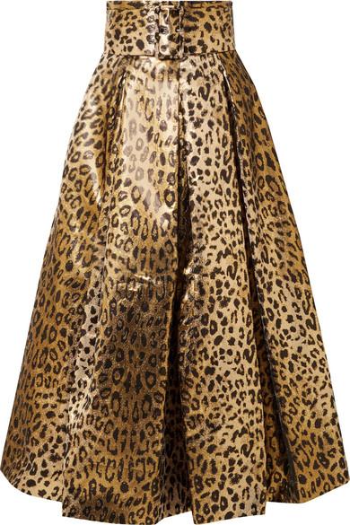 2cb0e64f7eb54b Sara Battaglia | Metallic leopard-print jacquard midi skirt | NET-A ...