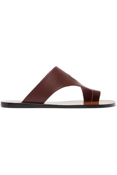 ATP ATELIER | ATP Atelier - Roma Leather Sandals - Burgundy | Goxip