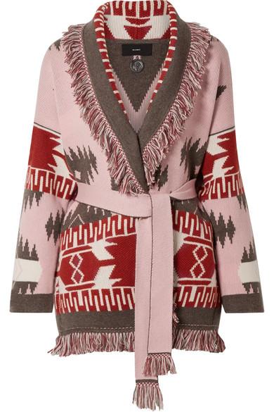 Alanui - Fringed cashmere-jacquard cardigan
