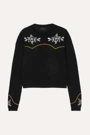 Alanui Western Flowers embroidered intarsia cotton and silk-blend sweater