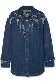 Alanui Embroidered distressed denim shirt