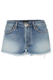 Alanui Embroidered distressed denim shorts
