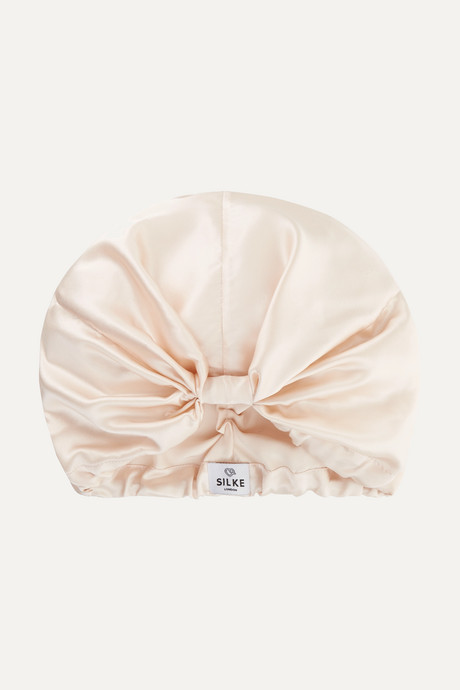 Taupe The Sofia silk hair wrap | SILKE London CkCcDz