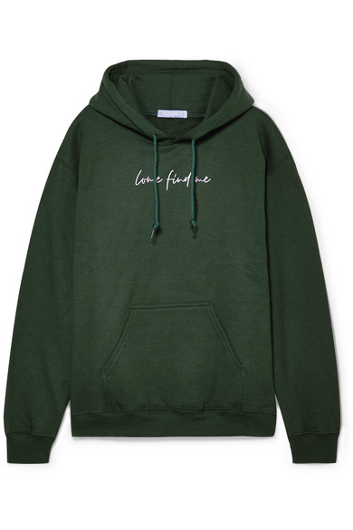 PARADISED Printed Cotton-Blend Fleece Hoodie in Forest Green