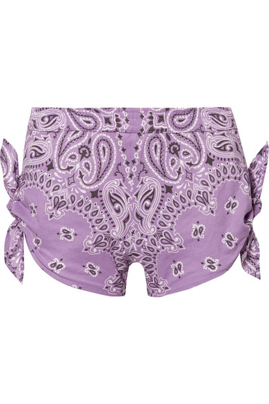 Knotted Printed Cotton-Poplin Shorts in Lilac