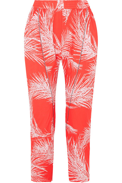 PARADISED Naish Cord-Trimmed Printed Voile Tapered Pants in Red