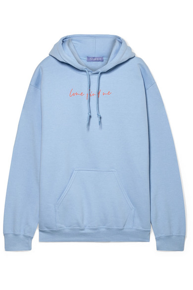PARADISED Printed Cotton-Blend Fleece Hoodie in Light Blue