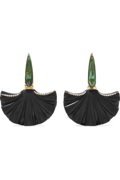SILVIA FURMANOVICH Marquetry 18-Karat Gold, Wood, Tourmaline And Diamond Earrings