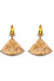 Silvia Furmanovich Marquetry 18-karat gold, wood, citrine and diamond earrings