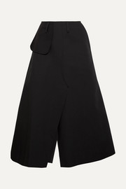 A.W.A.K.E. Belted cotton-twill midi skirt