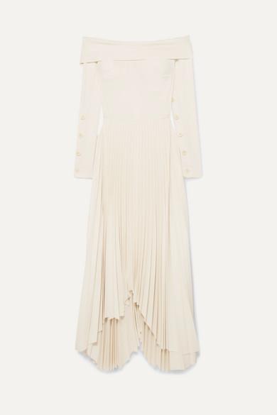 A.W.A.K.E. Off-The-Shoulder Pleated Crepe De Chine Maxi Dress in Cream