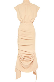 Draped crepe de chine midi dress