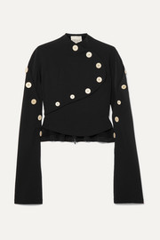 Button-embellished stretch-crepe top