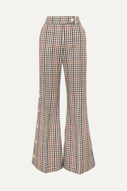 Checked cotton-blend twill flared pants