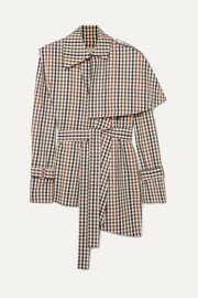 Layered checked cotton-blend twill shirt