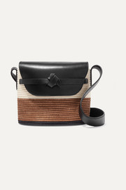 Leather-trimmed woven sisal bucket bag