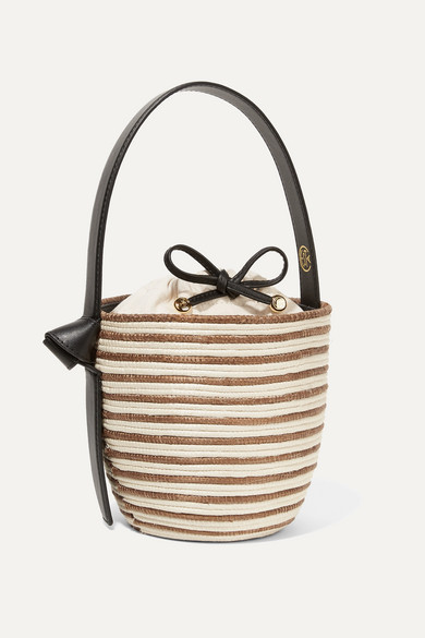 CESTA COLLECTIVE Lunchpail Leather-Trimmed Woven Sisal Bucket Bag in Tan