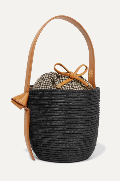 CESTA COLLECTIVE Lunchpail Leather-Trimmed Woven Sisal Bucket Bag in Black