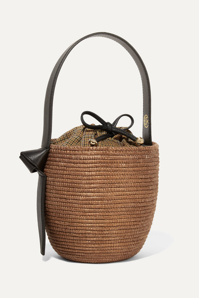 CESTA COLLECTIVE Lunchpail Leather-Trimmed Woven Sisal Bucket Bag in Brown
