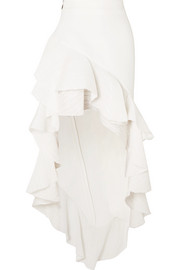 Palos asymmetric ruffled crepon and cady skirt