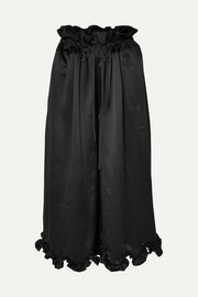 Sara scalloped silk-satin culottes